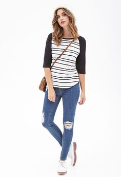 I want this outfit!!   Striped Baseball Tee #OOTD #F21StatementPiece