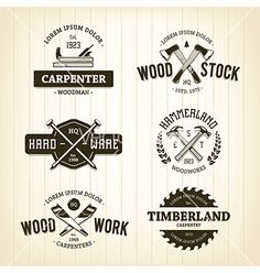 Carpentry emblems logos vector by morys on VectorStock®