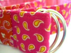 Pink & Orange - Paisley D-ring Belt