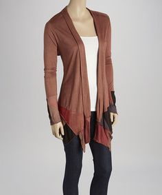 This Brown & Rust Asymmetrical Hem Open Cardigan by Kathmandu Imports is perfect! #zulilyfinds