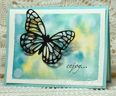 Here's another card that we did in the watercolor class last week. We stamped the Blended Bloom stamp with Whisper White and . Watercolor Tutorials, Watercolor Techniques, Class Projects, Projects To Try, Flower Stamp, Butterfly Cards, Animal Cards, Alcohol Inks, Watercolor Cards
