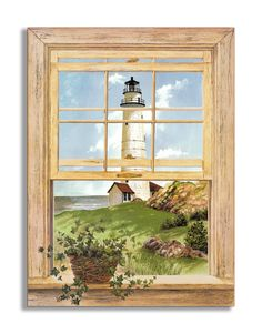 New England Lighthouse Faux Window Scene Wall Plaque