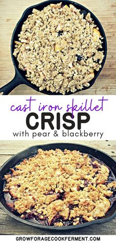 Skillet Pear and Blackberry Crisp: Late summer and fall is when pears are ripe is the perfect time to make this skillet pear and blackberry crisp! Healthy Desserts, Fun Desserts, Delicious Desserts, Healthy Recipes, Blackberry Crisp, Real Food Recipes, Cooking Recipes, Awesome Desserts, Food L