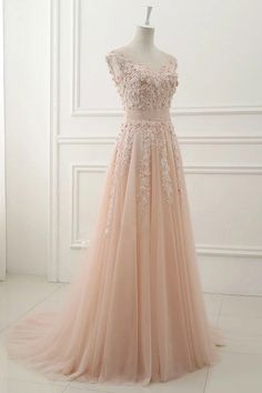 BEAUTIFUL LACE APPLIQUED PINK TULLE MODEST PROM DRESS,BALL GOWNS WEDDING DRESS