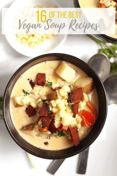 There is nothing quite like a warm and comforting bowl of vegan soup. You are going to LOVE these 16 vegan soup recipes. Taken from around the internet, this is the most delicious and cozy soup recipe roundup ever! Let's get cooking. #mydarlingvegan #vegansoup #vegansouprecipes #vegansouproundups