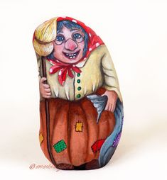 Epiphany witch - Befana - painted rock by Ernestina