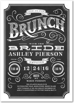 Vintage Brunch - Signature White Bridal Shower Invitations - Elk Design - Black : Front