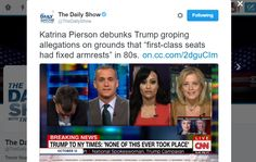 """The Daily ShowVerified account @TheDailyShow Katrina Pierson debunks Trump groping allegations on grounds that """"first-class seats had fixed armrests"""" in 80s."""