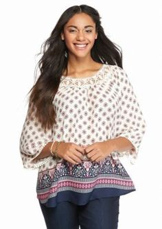 Ruby Rd Plus Size Global Ikat Top | Tops, Plus size and Products