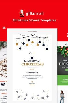 Gifts Email - Christmas 8 Email Templates Features: - Modern and Clean Design - Responsive Design - Mailchimp Ready - campaign monitor Ready - icontact Ready - Holiday Emails, Campaign Monitor, Mail Gifts, Behance, Editor, Layout, Envelope Design, Christmas Templates, Email Templates
