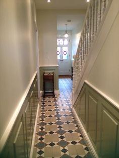Our hallway | Grosvenor floor tiles (Topps Tiles) | James White  Vert De Terre paint (Farrow  Ball)