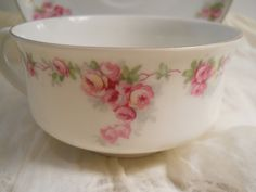 Antique pink roses bavarian china tea cup and saucer, pink rose buds