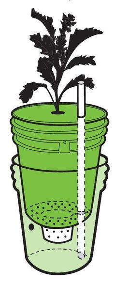 Self-watering containers make growing fruits and veggies a breeze and are ideal for gardening in small spaces. Construct your own reliable waterer with a few easily scavenged materials and about an hour's worth of time. From MOTHER EARTH NEWS magazine. Self Watering Containers, Self Watering Planter, Storage Containers, Bucket Gardening, Container Gardening, Gardening Quotes, Pot Jardin, Small Space Gardening, Growing Plants