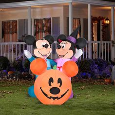 6 airblown inflatables disney mickey mouse and minnie mouse with pumpkin scene halloween decoration
