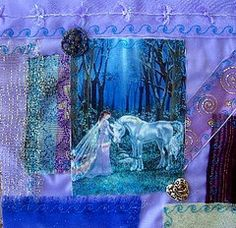 Altered Collage Art Fairy Queen and Unicorn Crazy quilt block   Flickr - Photo Sharing!