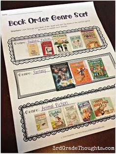 Grade Thoughts: Sorting Books by Genre + Freebie Best Picture For Book Genres icons For Your Tas Genre Activities, Library Activities, Reading Resources, Reading Strategies, Reading Skills, Reading Comprehension, Reading Response, Literacy Games, Reading Logs