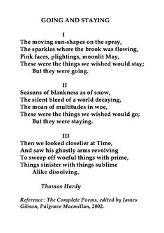 Thomas Hardy, Going and Staying