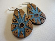 Woodie FD3i by ZingyB   Wooden Earrings Handpainted Lasercut