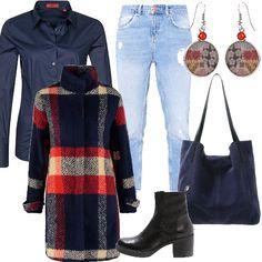 Un evergreen: il jeans ma con taglio baggy e una camicia blue navy dal taglio maschile e dal tessuto prezioso. Un classico rivisitato: un cappotto di lana, lievemente sciancrato, con collo alla coreana e bottoni nascosti dalla fantasia tartan nei toni del blu, rosso e bianco. Gli accessori che lo completano sono everyday ma con un tocco di stile a partire dalla shopping in morbido suede bluette per finire con i tronchetti a tacco basso e gli orecchini young.