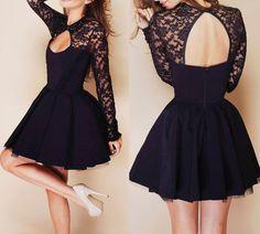 Halter Stitching Lace Dress