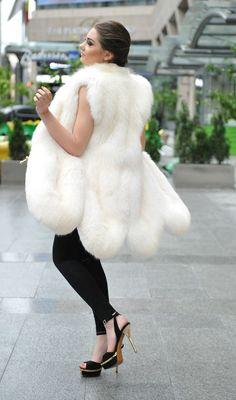 White fox fur vest poncho