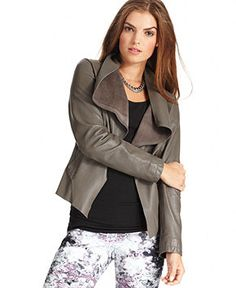 DKNY Jeans Jacket, Open-Front Draped Leather - Womens 13 Trends for 2013 - Macy's