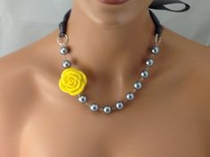 Hey, I found this really awesome Etsy listing at http://www.etsy.com/listing/159730121/pewter-grey-and-yellow-chunky-bridesmaid