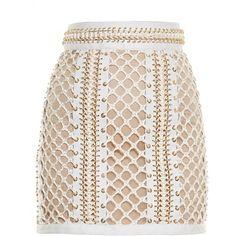 Balmain Lace-up leather mini skirt ($8,816) ❤ liked on Polyvore featuring skirts, mini skirts, ivory skirt, winter white skirt, leather miniskirt, body con skirt and short mini skirts