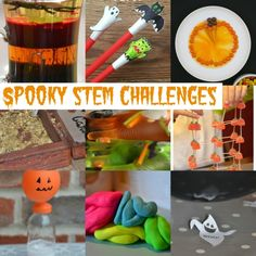 Stem challenges for #Halloween - includes creepy density, blowing up a pumpkin balloon, static electricity ghosts and much more... #STEM #STEMChallenges #ScienceExperimentsforkids