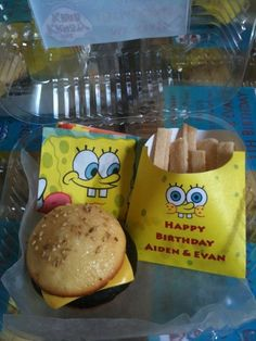 This would be the cutest Spongebob birthday party idea! Love the french fry looking holder. And I've got to find some of these clear to go boxes