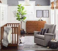 Swivel, rock and recline with the Carlo Swivel Glider & Recliner. Featuring a high back and comfy firm cushions, this nursery staple is a must-have for bonding and nursing baby. Its clean, streamlined design makes this perfect for any room aes… Brown Nursery, Brown Crib, Nursery Neutral, Neutral Nurseries, Baby Room Design, Baby Room Decor, Bedroom Decor, Pottery Barn Nursery, Mid Century Nursery