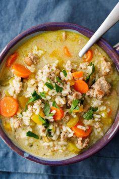 Healthy Turkey Recipes, Easy Soup Recipes, Dinner Recipes, Cooking Recipes, Rice Recipes, Clean Recipes, Ground Turkey Soup, Healthy Ground Turkey, Gourmet