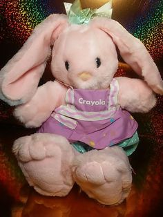Vintage Hallmark 1990 PINK CRAYOLA BUNNY RABBIT Plush Heartline #Hallmark #crayola #crayolabunny #bunny #plush Misfit Toys, Bunny Plush, Bunny Rabbit, Stuffed Animals, Childhood Memories, Teddy Bear, Easter, Kawaii, Dolls
