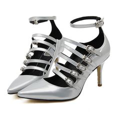 Silver Point Toe Buckle Strap High Heeled Pumps