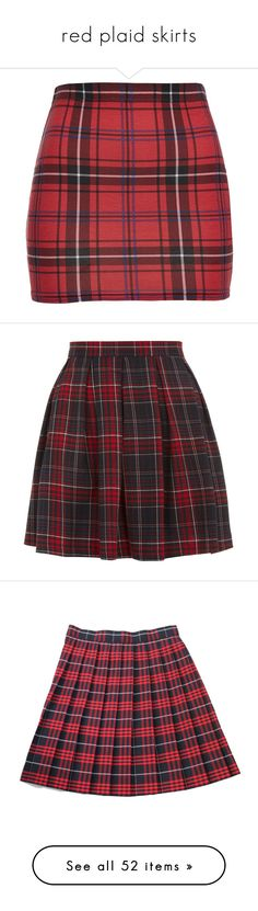 """red plaid skirts"" by xoxolaylaoxox ❤ liked on Polyvore featuring skirts, bottoms, knee length bodycon skirt, cotton skirts, fitted skirts, bodycon skirt, elastic waist skirt, saias, faldas and red skater skirt"
