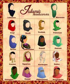 Islamic headcovers: Lebanese, Moroccan, Iraqi, Saudi, Turkish, Pakistani, Syrian, Indonesian, Somali, Emirati, Iranian, Egyptian, Azerbaijani, Sudan, Ethiopian, Omani, Afghanistani, and Bangledeshi