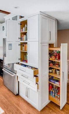 #homedecor #kitchenideas #inspiration |Inspiration for a transitional kitchen in Seattle with shaker cabinets, white cabinets, white backsplash, stainless steel appliances and medium tone hardwood floors. — Houzz