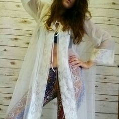 Ethereal vintage robe Pretty sheer robe with floral print edging and beautiful sleeves. Vintage Intimates & Sleepwear Robes