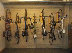 Reclaimed Wood and Pipe Bike Hangers