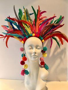 Items similar to Pom pom headdress- Feather Headpiece -Tribal Headdress- Music Festival- Burner Head piece- Pride- Rainbow Headpiece- Headdress NY. on Etsy Rainbow Headband, Halo Headband, Fascinator Headband, Coque Feathers, Mardi Gras Costumes, Rio Carnival Costumes, Feather Headdress, Crazy Hats, Metal Headbands