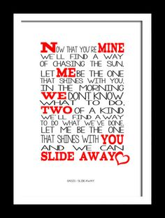 """""""Slide Away""""- Oasis. Their best A-side, for me. I want this to be my first slow dance wedding song if/when I get married."""