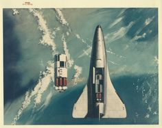 humanoidhistory:  1971 NASA concept art shows a future space shuttle in Earth orbit.  (Stellar Views)