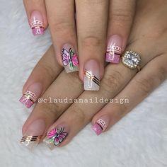 Cute Nail Art Designs, Beautiful Nail Designs, Manicure Nail Designs, Nail Manicure, Orange Nails, Pink Nails, Luminous Nails, Girls Nails, Stylish Nails