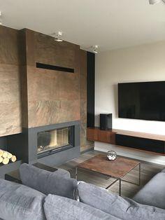 Scandinavian Fireplace, Modern Fireplace, Fireplace Wall, Dutch House, New Condo, Fireplace Remodel, Fireplaces, Living Room Designs, Sweet Home