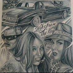 Boobs, Skulls, and Mickey Mouse: Chicano Tattoos Gangsters, Lettrage Chicano, Chicano Style Tattoo, Chicano Love, Prison Drawings, Badass Drawings, Chicano Drawings, Art Drawings, Arte Cholo