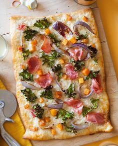 Prosciutto Kale and Butternut Squash Pizza #food #recipes