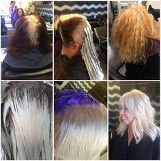 How-To: Stripping Color for a Natural White-Gray #olaplex #goldwell #redken