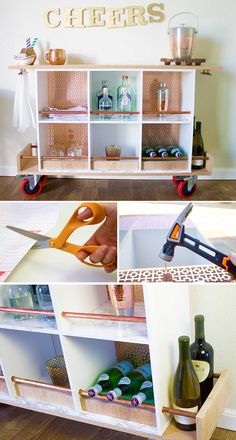 The holiday season is almost here! Put your DIY skills to work to become the best host with a modern bar cart idea. Learn how to repurpose a storage cubby into a bar cart with copper lining in no time. #DIY #repurpose #barcart Homemade Furniture, Diy Furniture, Modern Bar, Modern Decor, Cubby Storage, Extra Storage, Diy Bar Cart, Bar Carts, Bars For Home