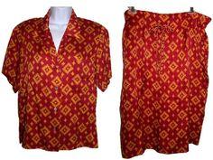 257f3e13f Items similar to Anne Klein Silk Skirt & Blouse Set, 80s Blouse, 80s Skirt,  Skirt Set, Vintage Button Down Shirt, Silk Outfit, Size 8 Skirt, Size 8  Blouse ...