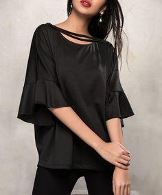 Loving this Black Ruffle Three-Quarter Sleeve Top on #zulily! #zulilyfinds